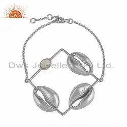 Mother of Pearl Gemstone 3 Cowrie Design Silver Bracelet