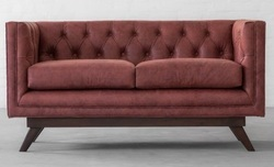Two Seater Canvas Sofa, Leather Furniture