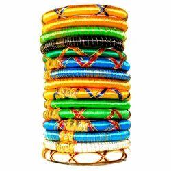 Multi Colour Indian Fashion Silk Thread Bangles Set