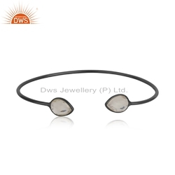 Handmade Rhodium Plated Silver Cuff Crystal Quartz Gemstone Bangle Jewelry