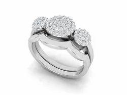 925 Sterling Silver Trio Round Disk Wedding Ring