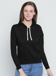 Ladies Black Cotton Hooded T-Shirt