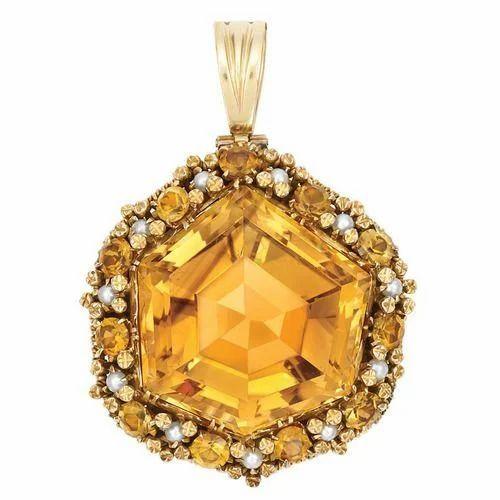 Star shaped yellow citrine pendant citrine locket valentine star shaped yellow citrine pendant mozeypictures Choice Image