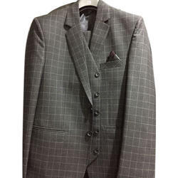 Grey Male Mens Check Three Piece Suit