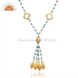 Clover Designer Gold Plated Silver Turquoise Beaded Necklace Gemstone Jewelry