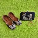 Handcrafted Bicyle Design Clutch with Matching Jutti