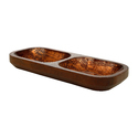 Wooden Twin Dish Serving Platter with Copper Finish