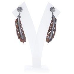 Diamond Silver Leaf Wood Earrings