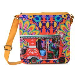 Crimson Taxi Canvas and Faux Leather Sling Bag