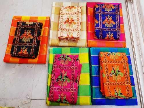 775be8703 Sana Silk Multi Color Check Saree, Length: 5.2 M, Rs 925 /piece   ID ...