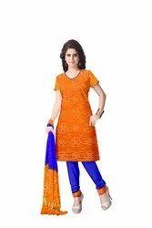 Orange And Blue Color Fancy Design Gaji Silk Bandhani Suit