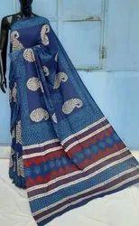 Natural Bagru Ajrakh Hand Block Printed Cotton Saree