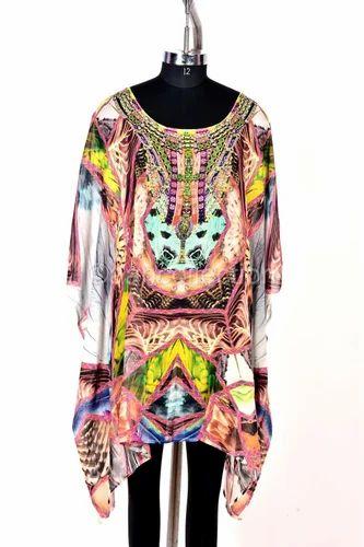 aae4ff246a Medium Multicolor Embellished Silk Kaftan Dress Like Camilla, Rs ...