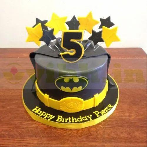 Pleasing Chocolate Truffle Round Batman Custom Cake Weight 1 500 Kg Birthday Cards Printable Opercafe Filternl