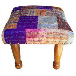 Indian Patola Silk Kantha Chowki, Foot Stool
