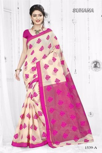 Pure Cotton Printed Saree, Length: 6 m