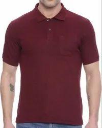 Collar Neck Plain Polo T Shirt
