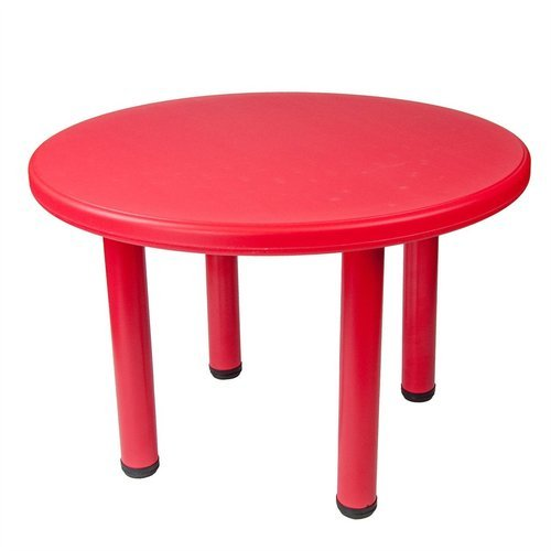 Red Plastic Round Table Without Chair, Round Table Plastic