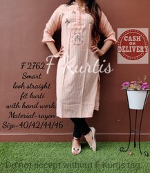 Rayon 3/4th Sleeve Straight Fit Kurti with Hand Work