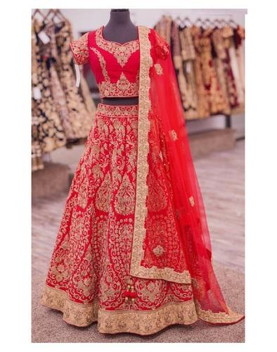 a78e90665d Semi-Stitched Zari Work Wedding Designer Art Silk Lehenga, Rs 3200 ...