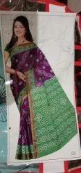 Tie-dye Bandhani Formal Wear Ladies Cotton Saree, 6 M (with Blouse Piece)