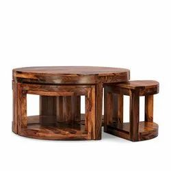 Wood Round Kaijilia Coffee Table With Four Stools Walnut