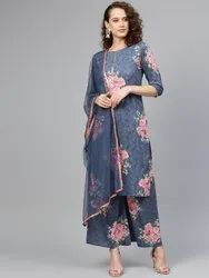 ladies kurta with plazzo and dupatta