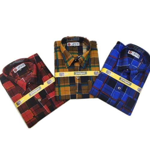 Casual Wear Checked Kids Cotton Check Casual Shirt