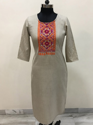 Lavanya Cotswool- Beige base with neck embroidery pink orange kurti