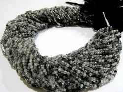 Natural Black Rutilated Quartz Round Faceted 2-2.5mm Strand 13 Inches