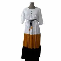 Plain Ladies Stylish Maxi Dress, Machine