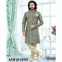 Grey and Gold Jacquard Readymade IndoWestern