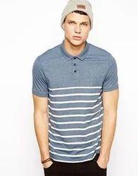 Cotton Polo Collar Striped T Shirt, Size: S to XL