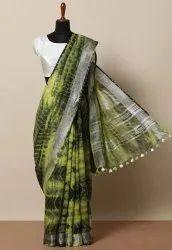 Bagru Hand Shibori Print Linen Saree