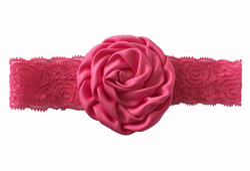 Christening Baby Rose Pink Lace Rose Flower Headband