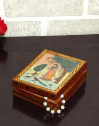 Genera Hand Gemstone Painted Metal Wooden Wedding Gift Jewelry Box