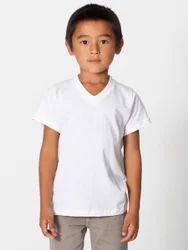 Male White Kids V Neck T Shirt