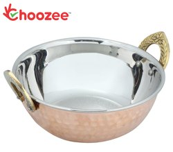 Choozee - Copper Steel Kadhai with Brass Handle (800 ml)