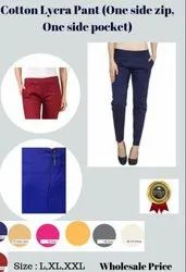 Cotton Lycra Pants For Ladies