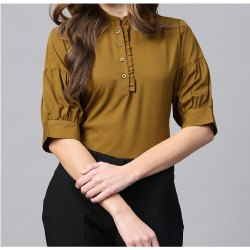 Polyester Mandarin Collar Women Olive Green Solid Shirt Style Top