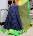 Tusser Silk Saree With Contrast Border