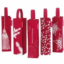 Christmas Printed Jute Carrier Bags