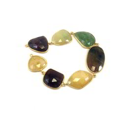Sapphire Bracelet Yellow Gold Over Silver