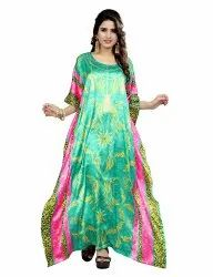 Free Size Party Wear Long Printed Satin Silk Kaftan For Women
