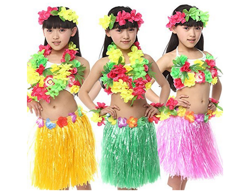 89e5296576 Girls Synthetic Fancy Steps Hawaiian Fancy Dress Dance Costumes Pink Color