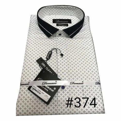 White,Black Mens Cotton Printed Shirt, Size: 36-44