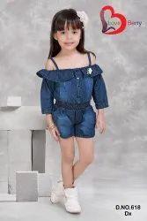 Party Wear Plain Designer Baby Girl Dungaree