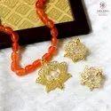 Copper And Brass Gold Rangoli Golden Pankaja Orange Beads Necklace Set