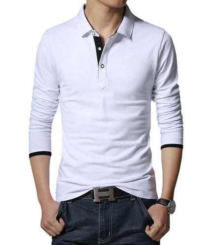 d66c76a7b7e White Cotton Linen Downtown Fashion Mens Cotton Full Sleeve T-Shirt ...