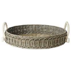 Decorative Wicker Round Tray With Handles